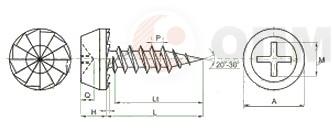 ОПМ 206043-1 Саморез с острым концом - схема