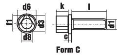 DIN 22424 Болт с трехгранной головкой и буртиком. Вариант C
